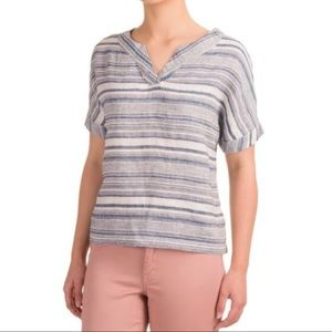 Artisan NY blue stripe linen blend top, Large